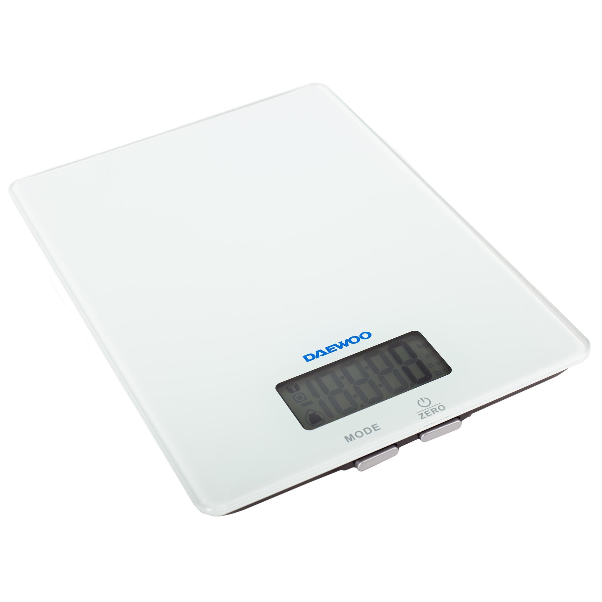 Fotografie Cantar nutritional cu Bluetooth Daewoo DKS20B, 5 kg, 1 g, sticla 4 mm, afisaj LCD, app iOS, Alb