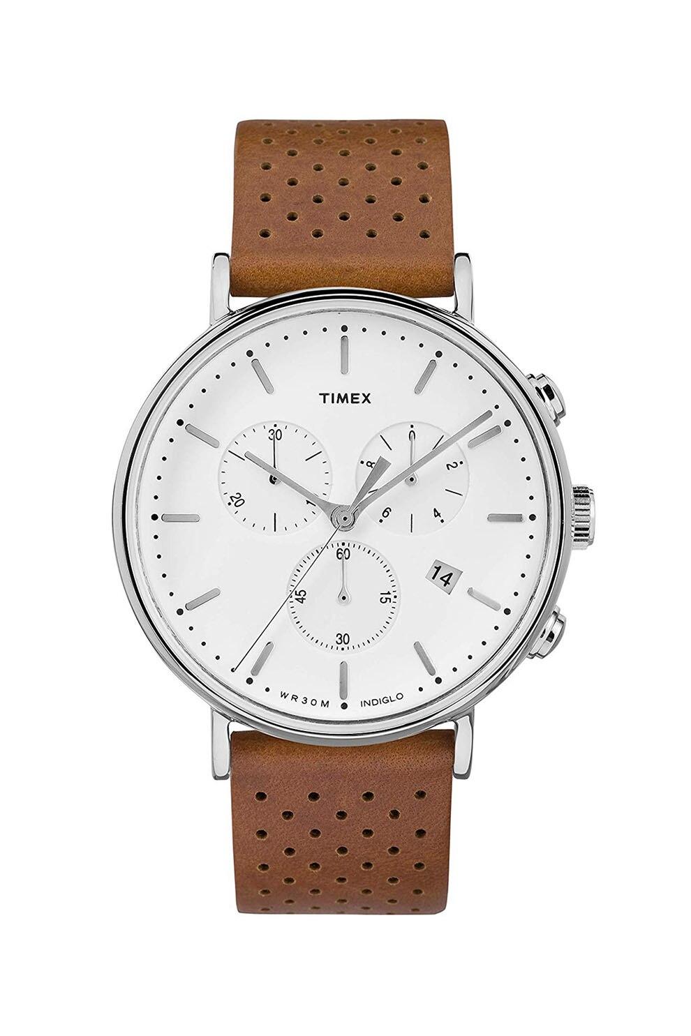 Fotografie Timex, Ceas cronograf cu o curea de piele Fairfield , 41 mm, Maro scortisoara/Argintiu