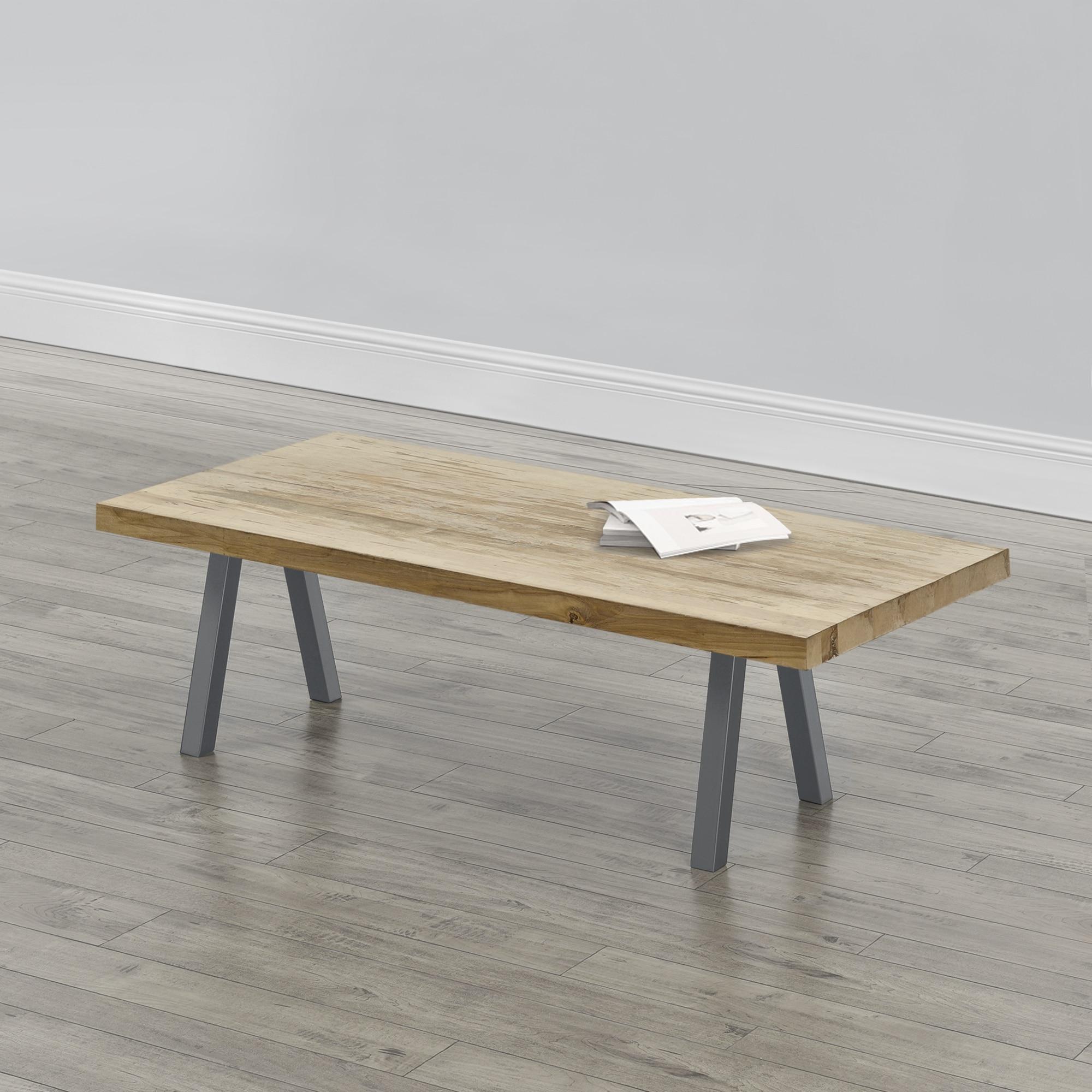 [en.casa]® Asztalláb 2 es szettben, Acélszürke,40x40 cm