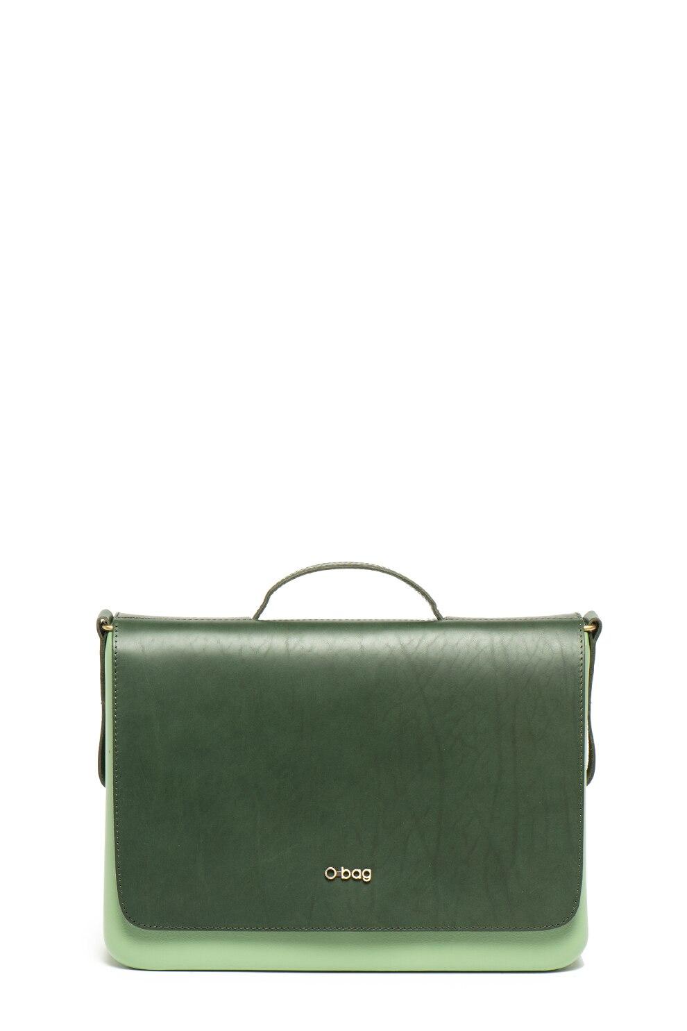 Fotografie O bag, Geanta cu bareta de umar detasabila si buzunar pentru laptop, Verde pal/Verde inchis