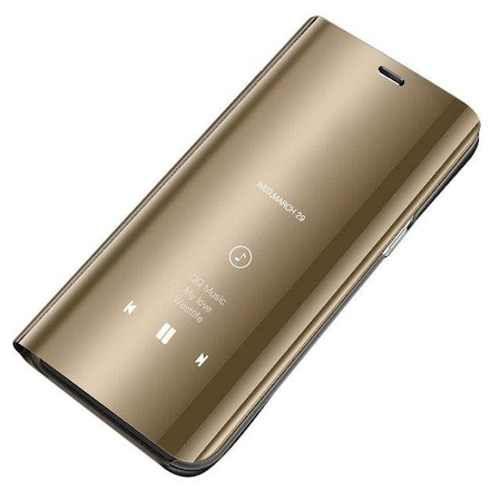 Clear View Samsung Galaxy A6 2018 A600 flip tok - arany