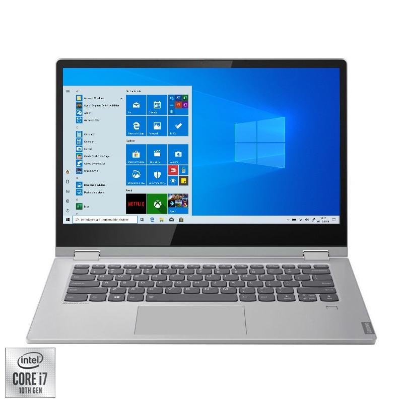"Fotografie Laptop 2 in 1 Lenovo Ideapad C340-15IIL cu procesor Intel® Core™ i7-1065G7 pana la 3.90 GHz Ice Lake, 15.6"", Full HD, IPS, 8GB, 1TB SSD, Intel Iris Plus Graphics, Windows 10 Home, Platinum"