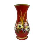 Vaza din ceramica de Arges realizata manual, Argcoms, H30, silueta simpla, pictura florala, rosu