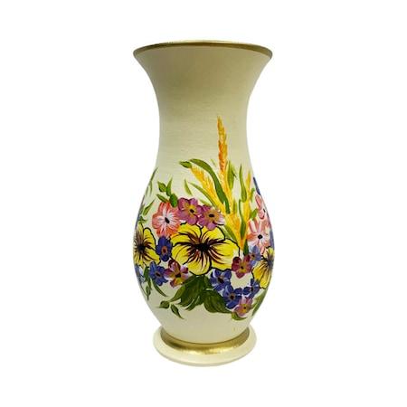 Vaza din ceramica de Arges realizata manual, Argcoms, H30, silueta simpla, pictura florala, crem