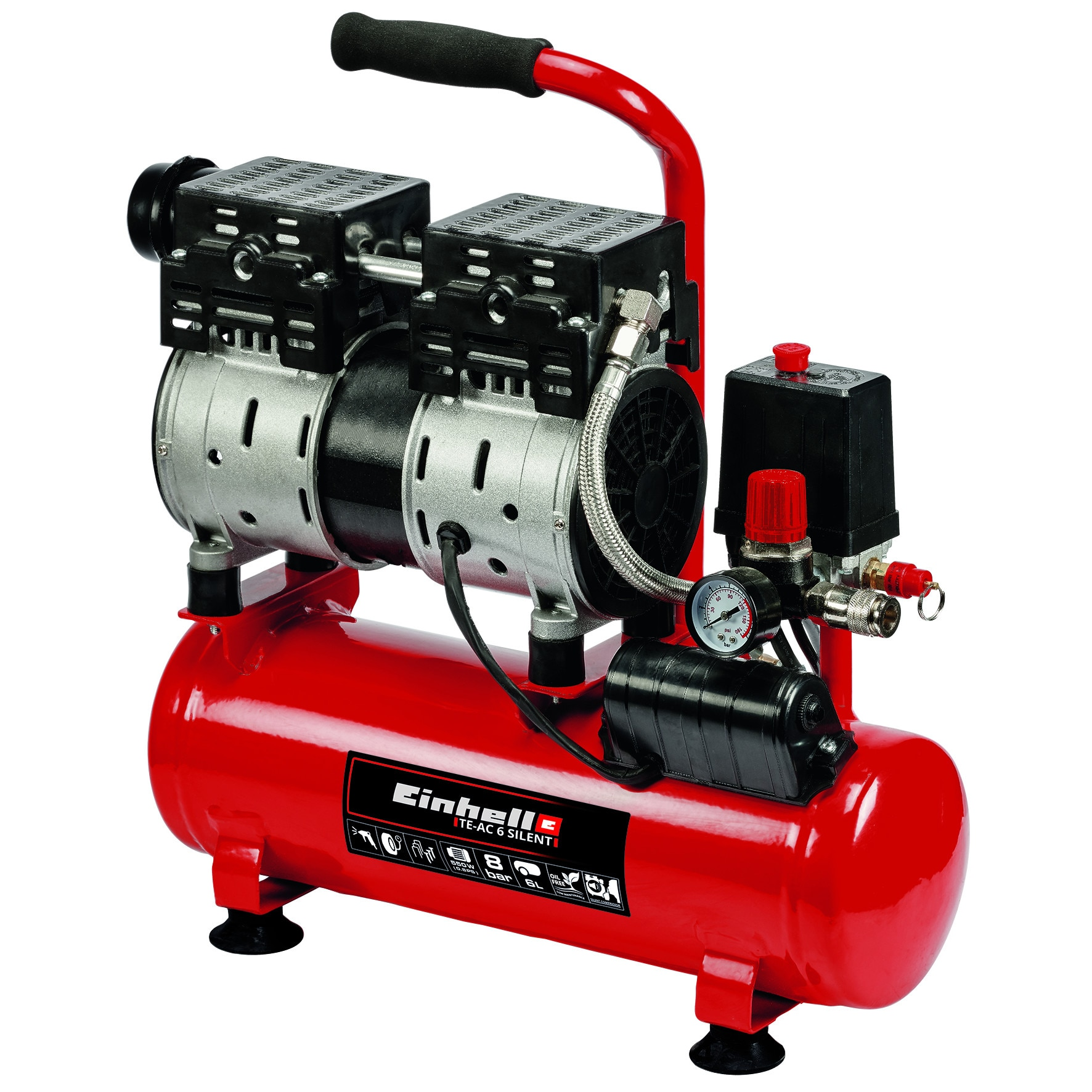 Fotografie Compresor fara ulei Einhell TE-AC 6 Silent, 550 W, 8 bar presiune lucru, 6 l capacitate rezervor, 50 l/min debit aer refulat, 110 l/min debit aer aspirat
