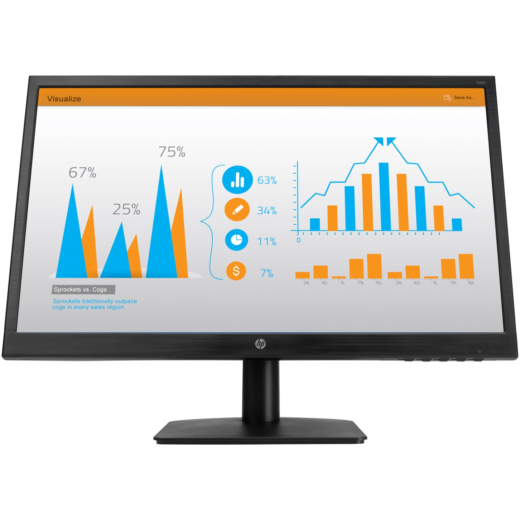 "Fotografie Monitor LED TN HP 21.5"", Full HD, HDMI, Negru, N223"