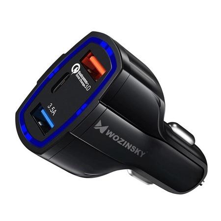 Зарядно за кола Wozinsky 2x USB /1x USB Type C,/ Quick Charge 3.0 /Зарядно за кола с USB и USB-C изходи и технология за бързо зареждане (черен)