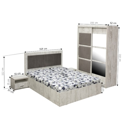 Dormitor Kring Antiq, pat 160x200,Dulap 2 usi glisante, pin antic