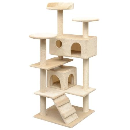 Катерушка за котки vidaXL, бежова - 125см