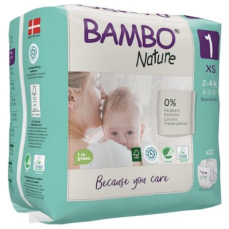 Scutece Ecologice Bambo Nature, marime 1, 2-4 kg, 22 bucati