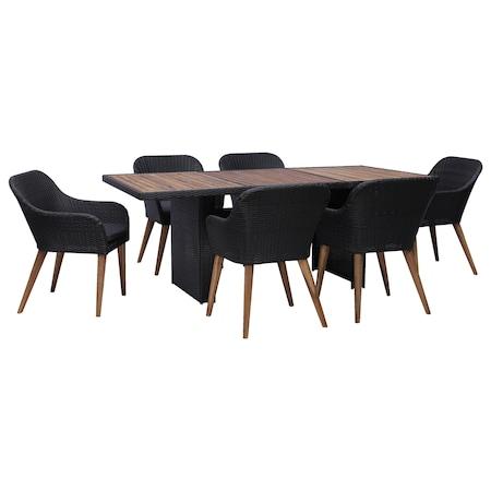 Set mobilier de gradina cu 7 piese, vidaXL, Poliratan, Negru, 200 x 100 x 74 cm cm