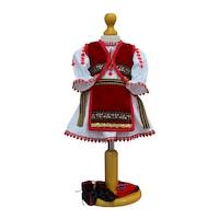 Costum popular fetita 5 piese zona Munteniei, 6-9 luni (68-74 cm)