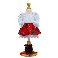 Costum popular fetita 4 piese zona Maramuresului, 3-6 luni (62-68 cm) rosu