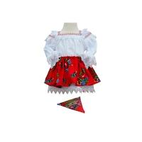 Costum popular fetita 3 piese zona Maramuresului, 1-2 ani (80-92 cm) rosu