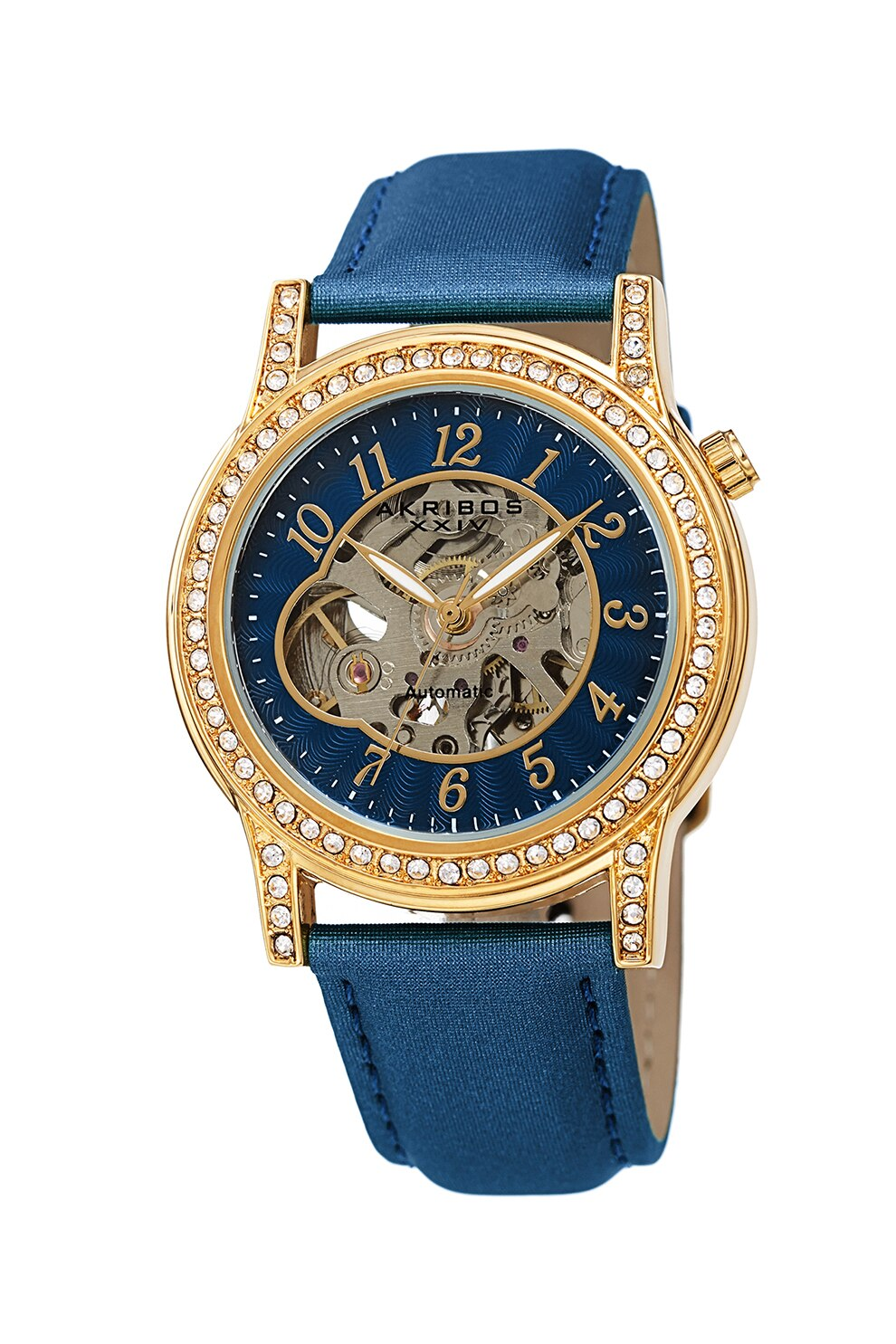 Fotografie AKRIBOS XXIV, Ceas automatic cu cadran cu mecanism vizibil, Albastru inchis/Auriu