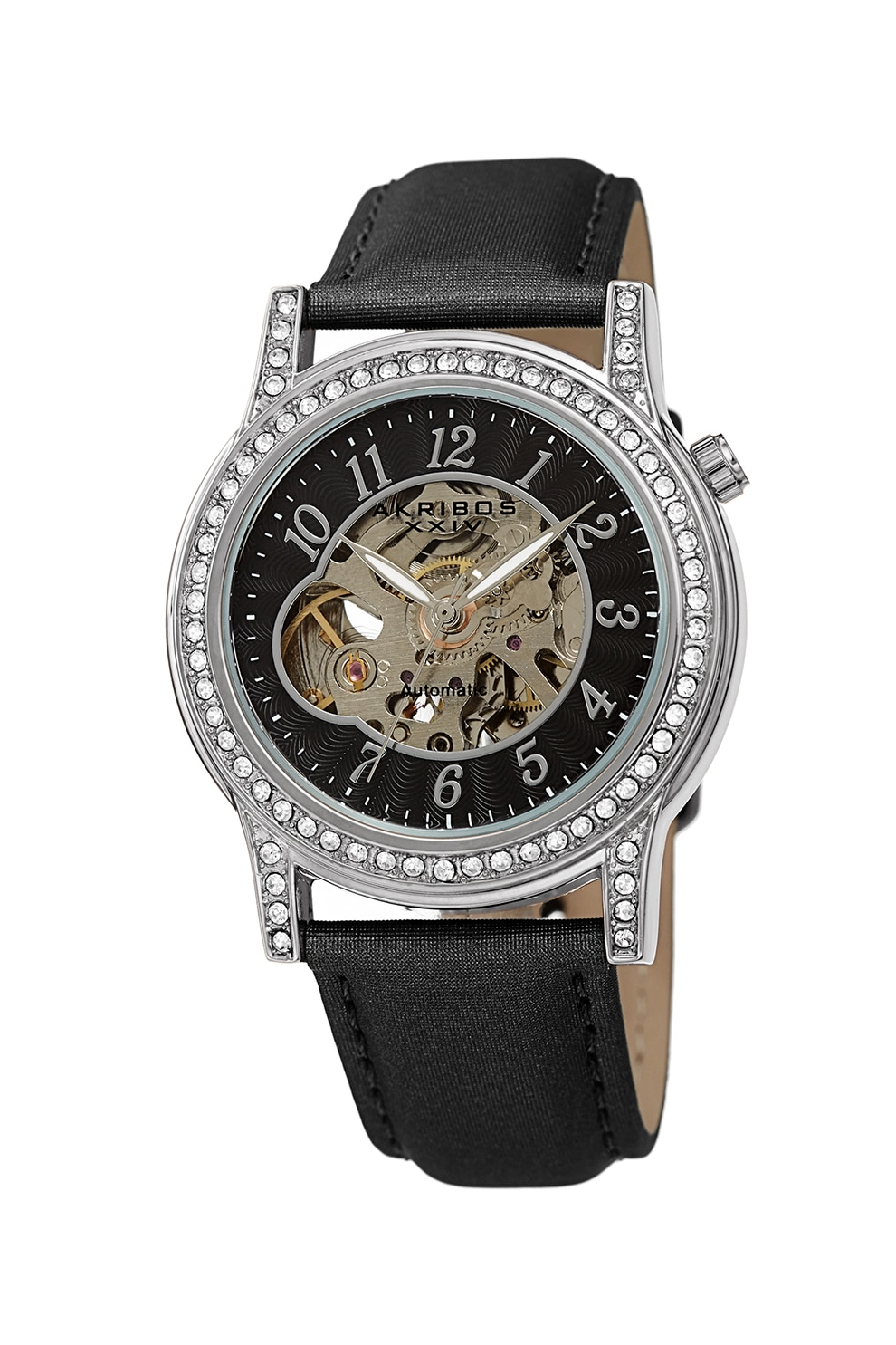 Fotografie AKRIBOS XXIV, Ceas automatic decorat cu cristale, Negru/Argintiu