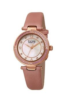 BURGI, Часовник с кожена каишка, Rose Gold