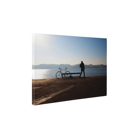 Картини върху канава 4Decor - Велосипеди на брега - 85x110 см