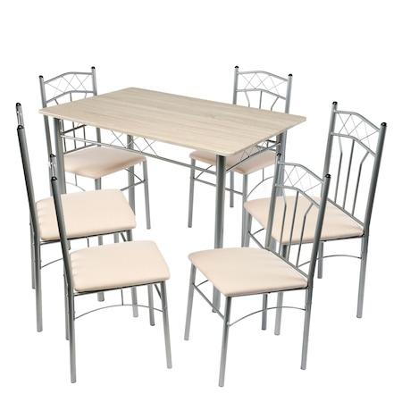 Set masa bucatarie si 6 scaune Kring Venice, metal, Bej