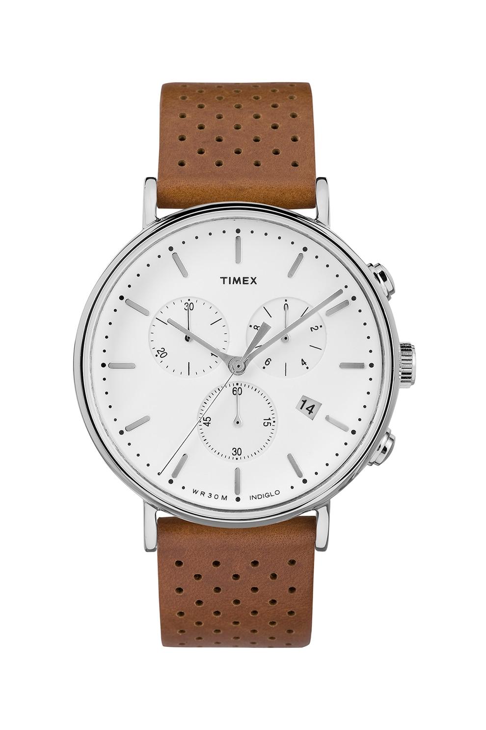 Fotografie Timex, Ceas cronograf cu o curea de piele si perforatii Fairfield, 41 mm, Maro scortisoara