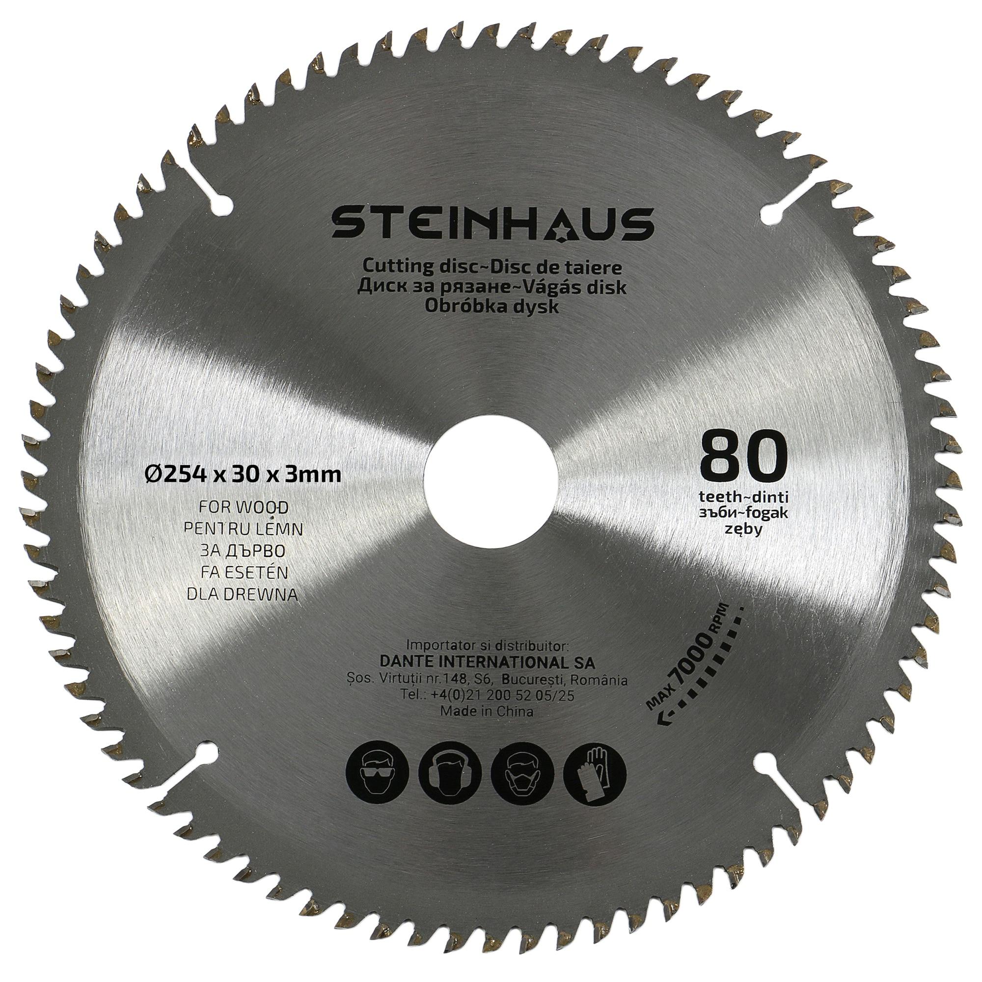 Fotografie Disc de taiere lemn cu 80 dinti Steinhaus PRO-BL81, 254x30x3mm, pentru debitor PRO-MS21