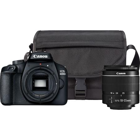Aparat foto DSLR Canon EOS 4000D,18.0 MP, Negru + Obiectiv EF-S 18-55mm F/3.5-5.6 III Negru + Geanta Canon SB130