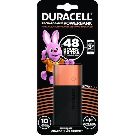 Външна батерия Duracell, 6700mAh, Бързо зареждане, Черен/Мед