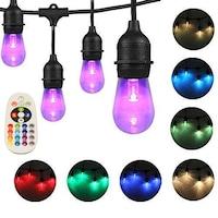 Kültéri fényfüzér/égősor 8 felcserélhető (átváltható) színnel, 15 (+2) felfüggesztett RGB led izzó, 15 m, összekapcsolható, E27-es foglalat, távirányító