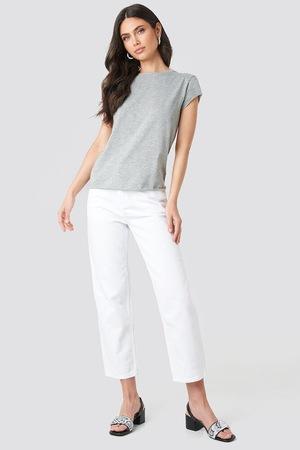 Блуза с къс ръкав Na Kd ,обло деколте , цвят Сив меланж