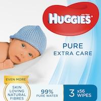 Servetele umede Huggies Pure Extra Care, 3 pachete x 56, 168 buc