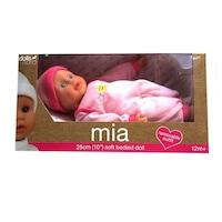 Puha testű Mia baba rózsaszín ruhában (25 cm)