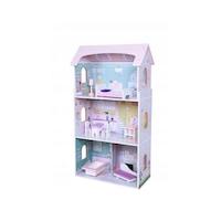 EcoToys nagy babaház gyerekeknek, 4 szoba, 8 bútor darab, mérete 95 X 27 cm