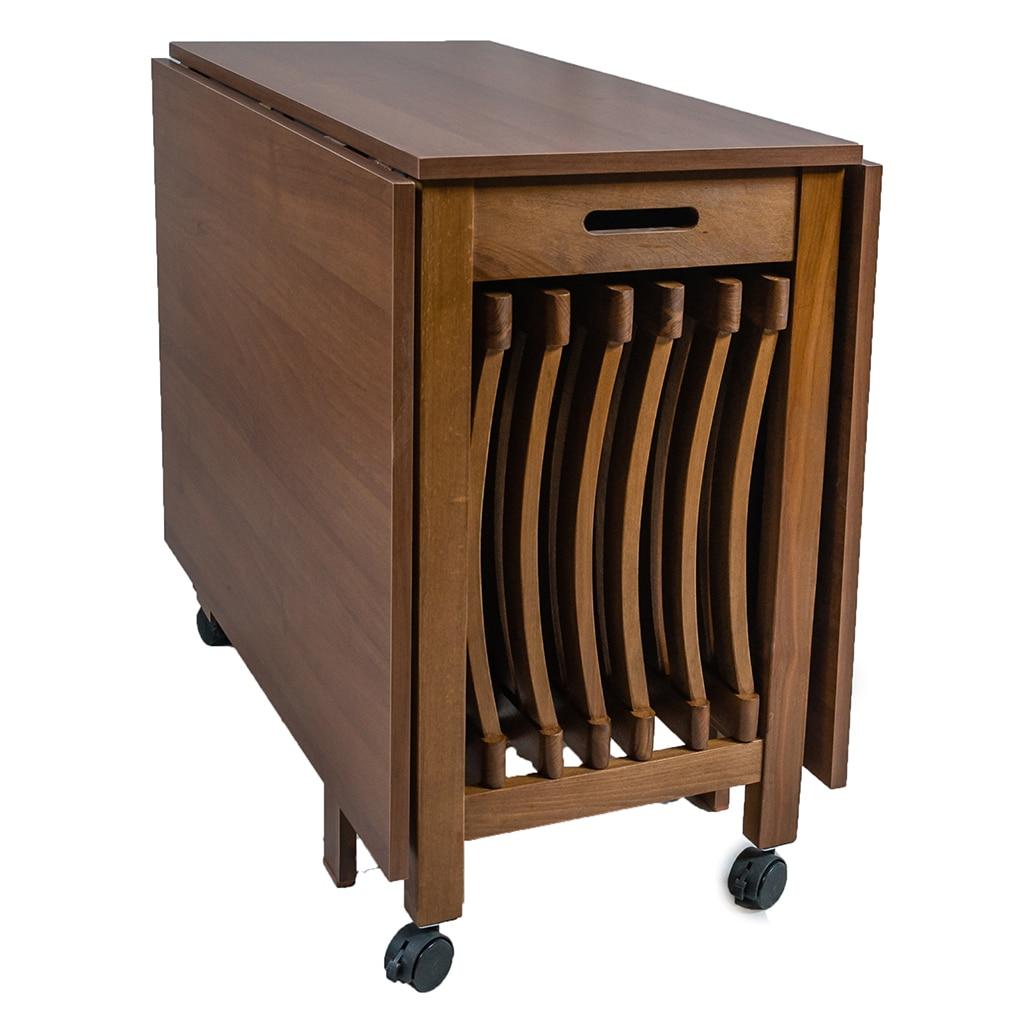Kerek fém asztal 4 székkel, összecsukható, összecsukható