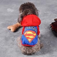 Costum Superman pentru catei si pisici, Aexya, Albastru cu rosu, Marimea S