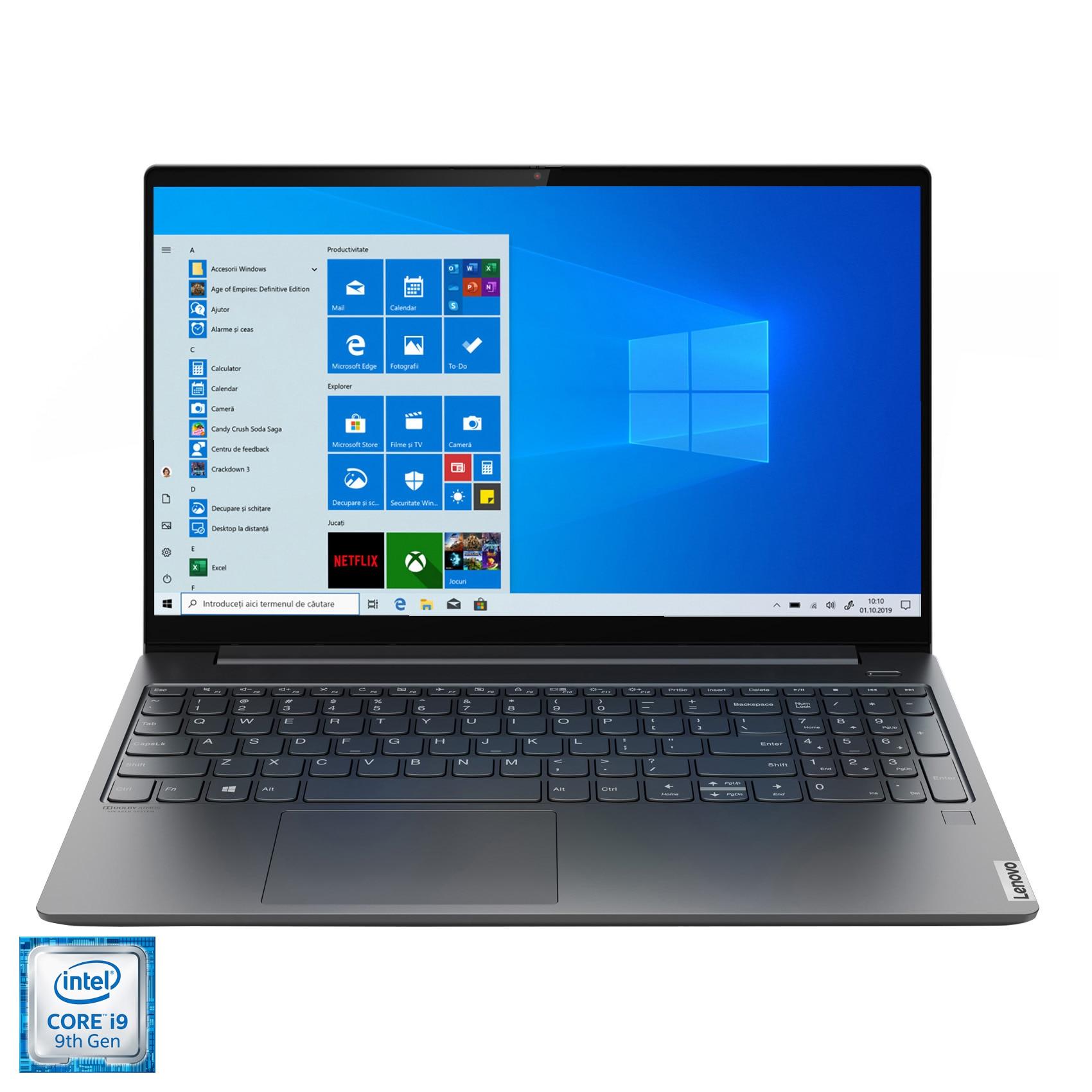 "Fotografie Laptop ultraportabil Lenovo Yoga S740-15IRH cu procesor Intel® Core™ i9-9880H pana la 4.80 GHz Coffee Lake, 15.6"", Full HD, HDR 400, IPS, 16GB, 1TB SSD, NVIDIA GeForce GTX 1650 Max-Q 4GB, Windows 10 Home, Iron Grey"