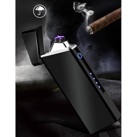 Elektromos dupla ív öngyújtó, USB plazma gyújtó - fekete