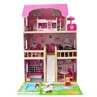 Casa de papusi din lemn cu accesorii, 4IQ Daria, Multicolor, 59,5 x 59 x 90 cm