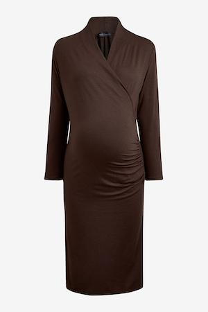 NEXT, Къса рокля със застъпен дизайн, Кафяв, 6