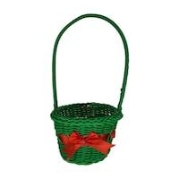 Декоративна коледна кошничка зелена кръгла