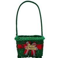 Декоративна коледна кошничка зелена правоъгълна