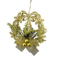 Декоративен златен коледен венец с еленче