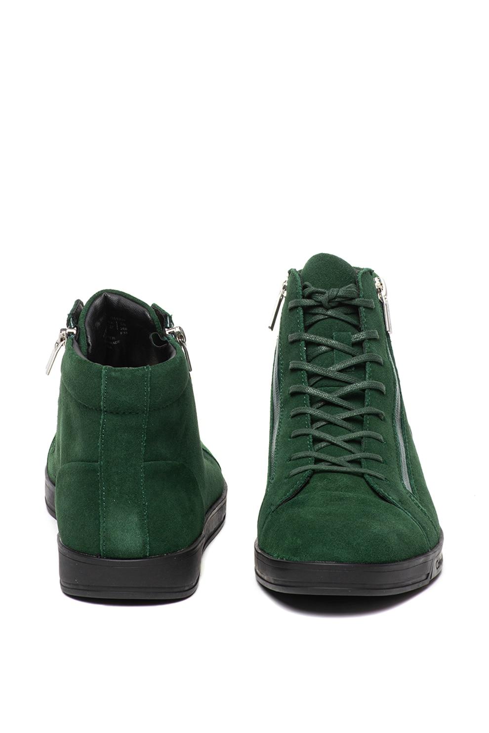pantofi cei mai buni cumpărarea ieftină magazin de reduceri Calvin Klein, Pantofi sport mid-high de piele intoarsa Berke, Verde, 44 -  eMAG.ro