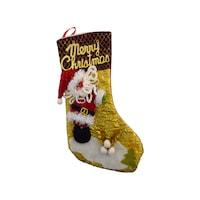 Декоративен коледен ботуш с дядо коледа и надпис Merry Christmas бордо