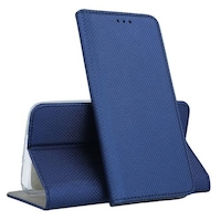 Telefontok Samsung Galaxy A21S - kék mágneses szilikon keretes könyvtok