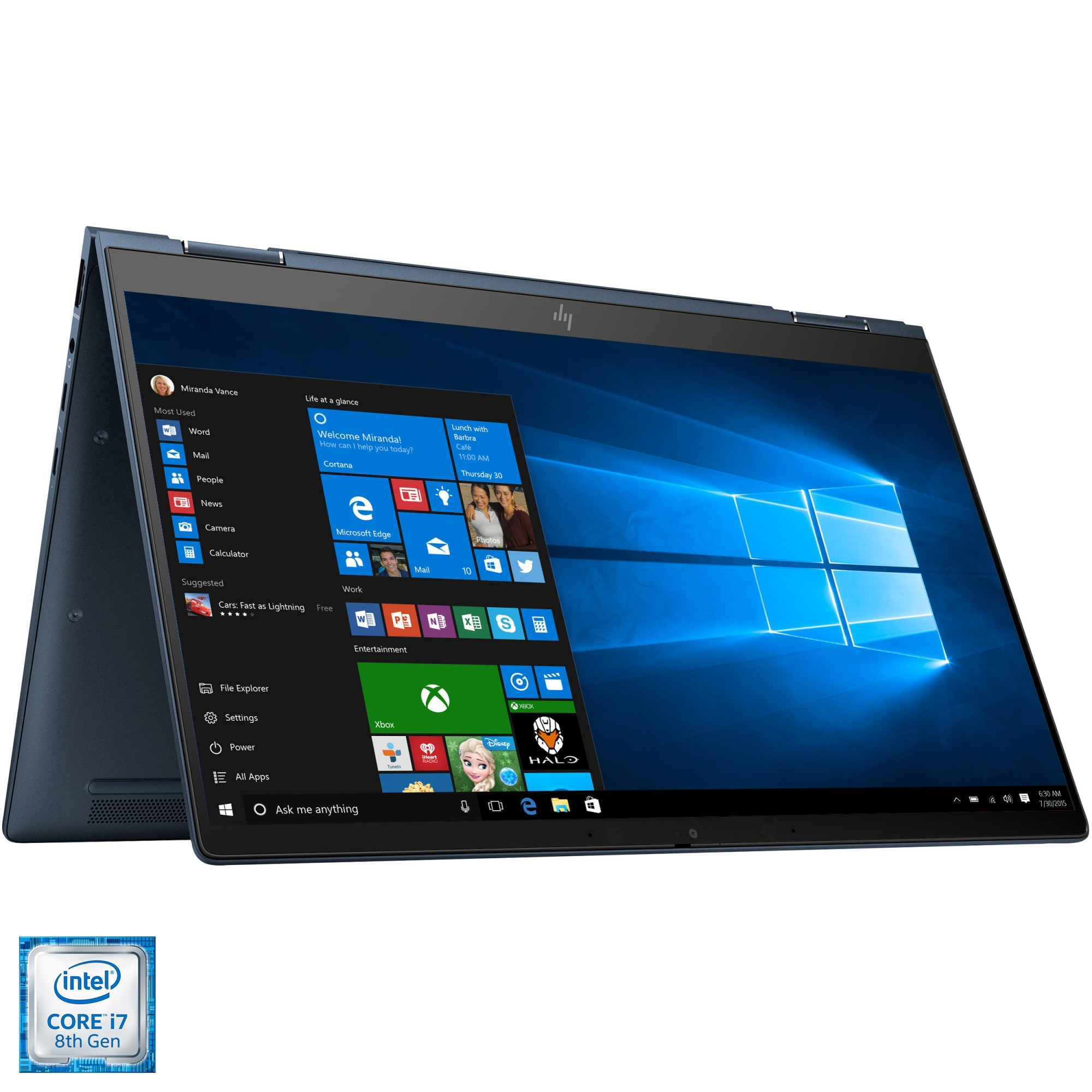 "Fotografie Laptop 2 in 1 HP Elite Dragonfly cu procesor Intel® Core™ i7-8565U pana la 4.60 GHz Whiskey Lake, 13.3"", Full HD, Touch, 16GB, 1TB SSD, Intel® UHD Graphics 620, Windows 10 Pro, Cobalt Blue"
