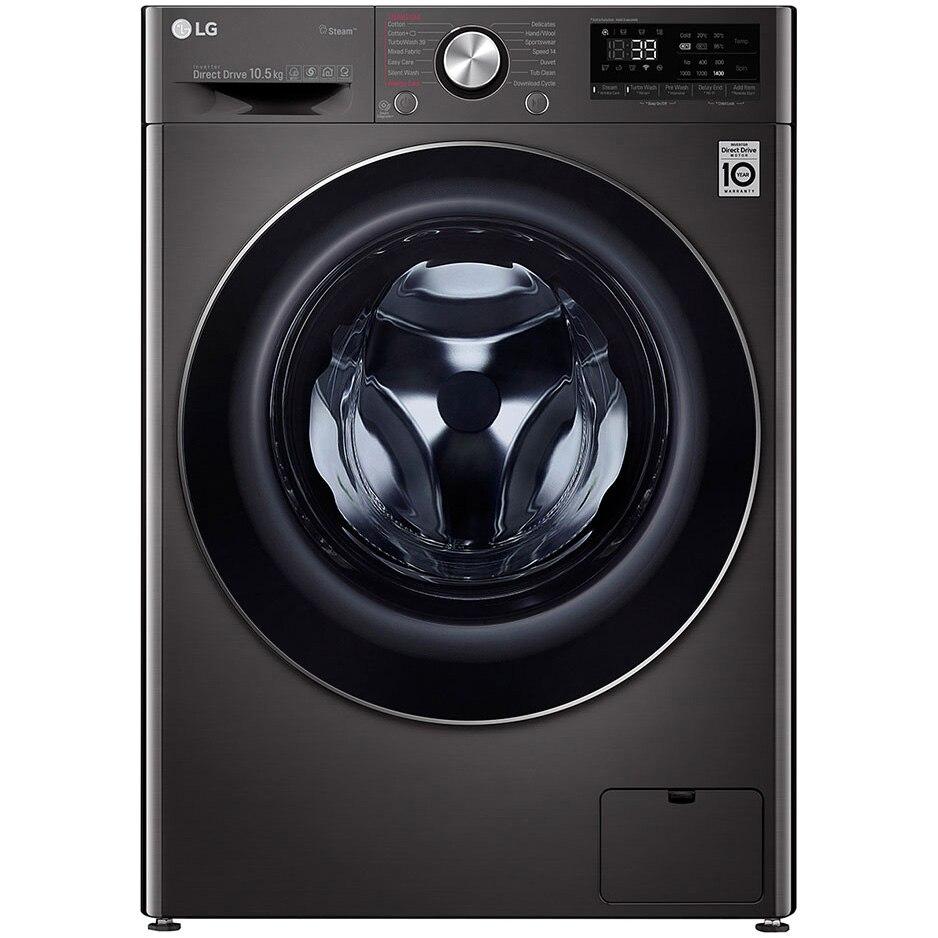 Fotografie Masina de spalat rufe LG F4WV910P2S, 10.5 kg, 1400 RPM, Clasa A+++, Motor Direct Drive, Turbo Wash 360, Steam +, Smart Diganosis, WiFi, Negru
