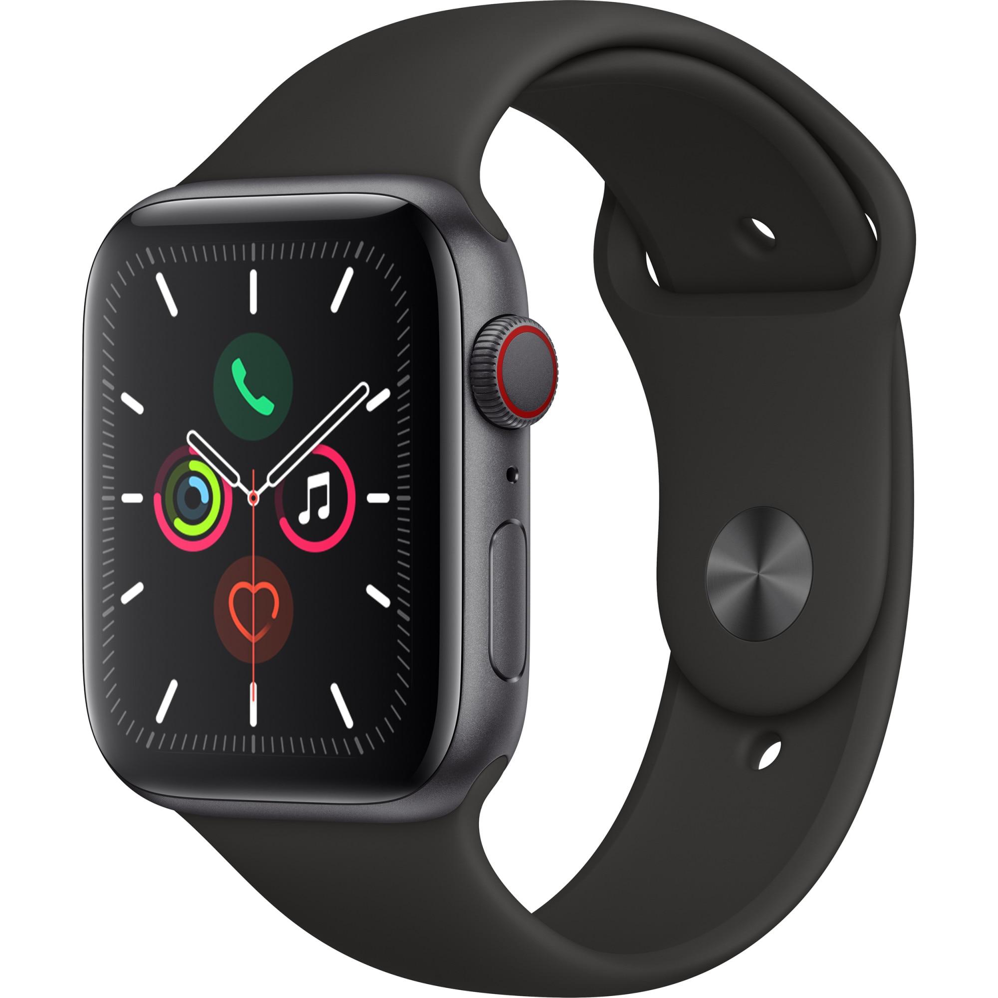 Fotografie Apple Watch 5, GPS, Cellular, Carcasa Space Grey Aluminium 44mm, Black Sport Band - S/M & M/L