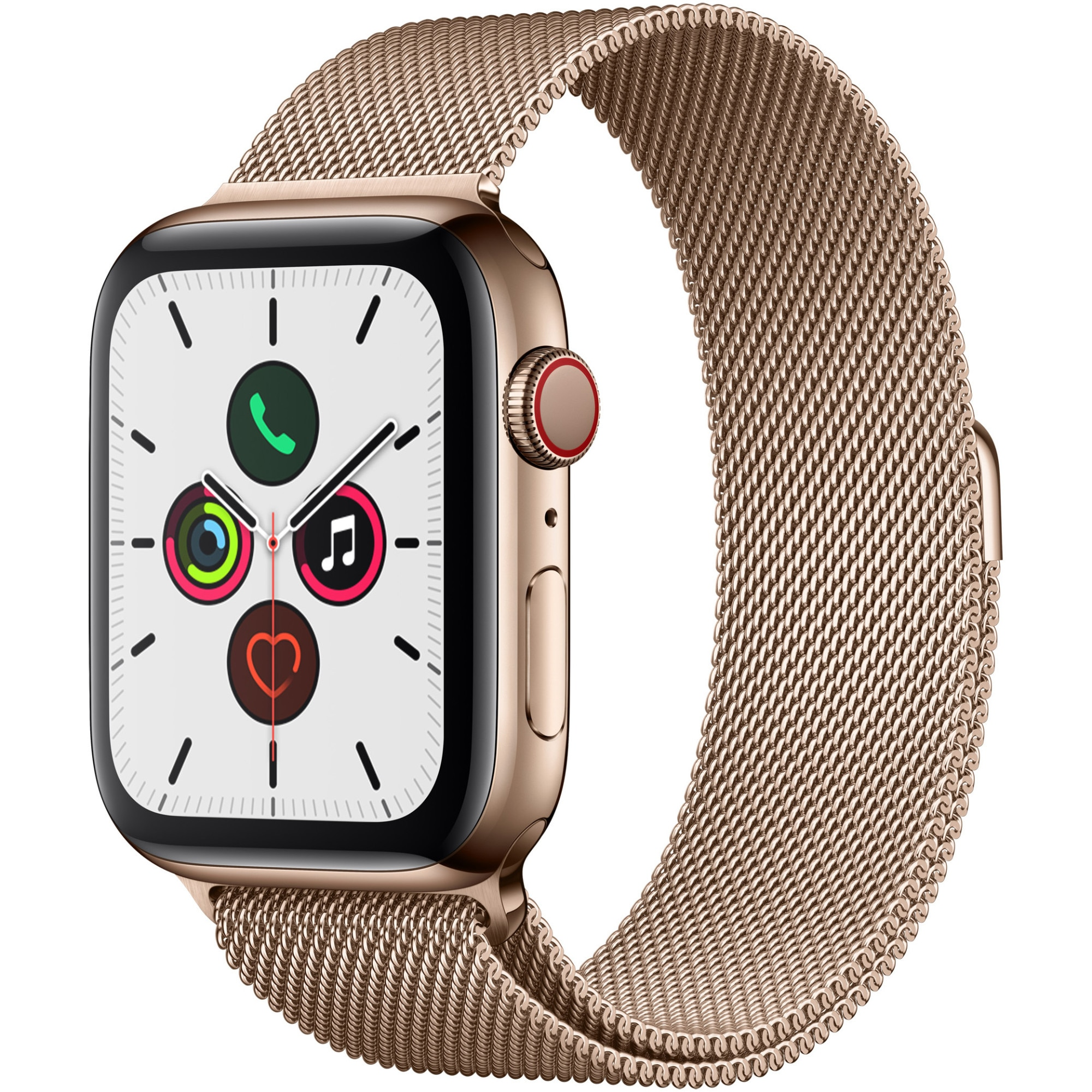 Fotografie Apple Watch 5, GPS, Cellular, Carcasa Gold Stainless Steel 44mm, Gold Milanese Loop