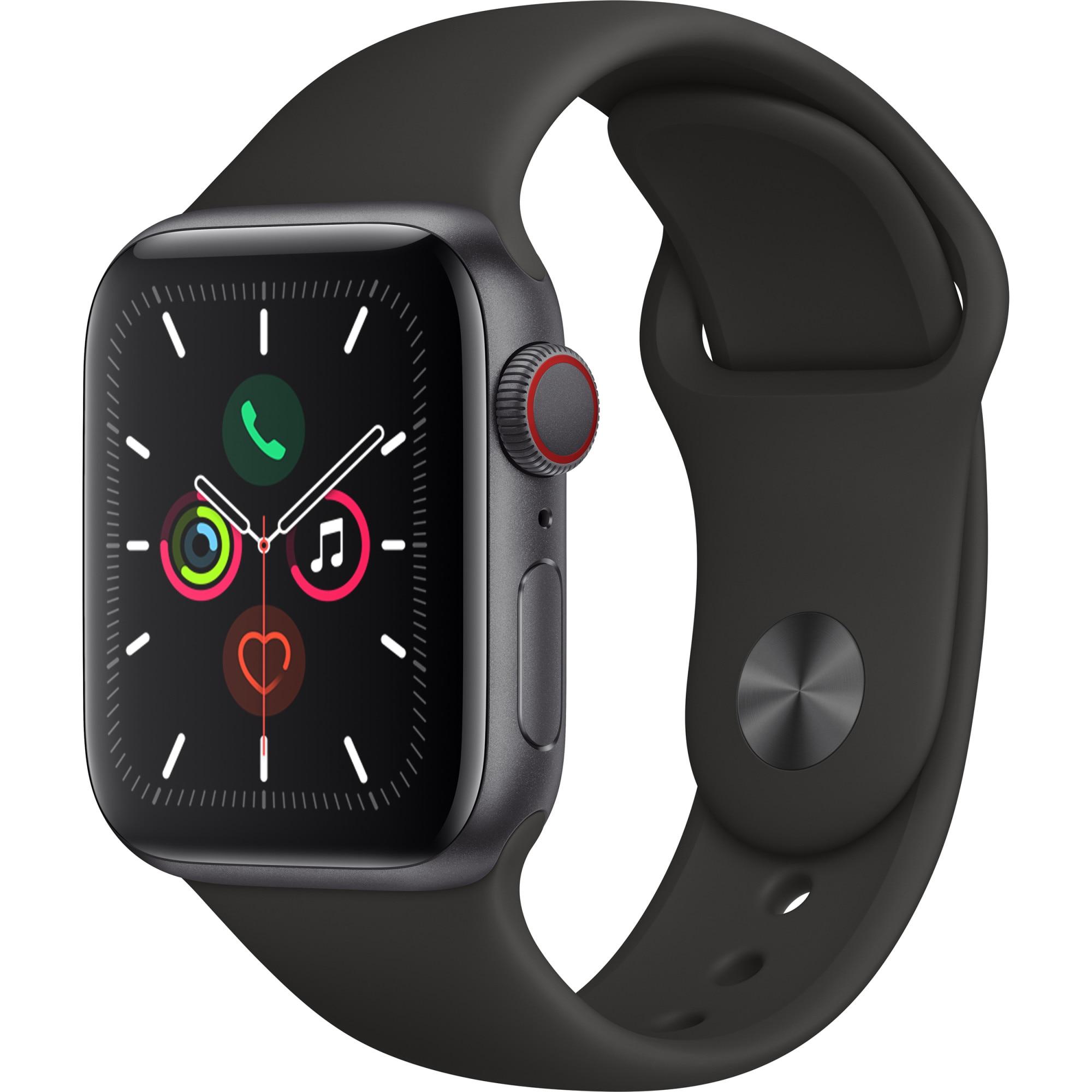 Fotografie Apple Watch 5, GPS, Cellular, Carcasa Space Grey Aluminium 40mm, Black Sport Band - S/M & M/L