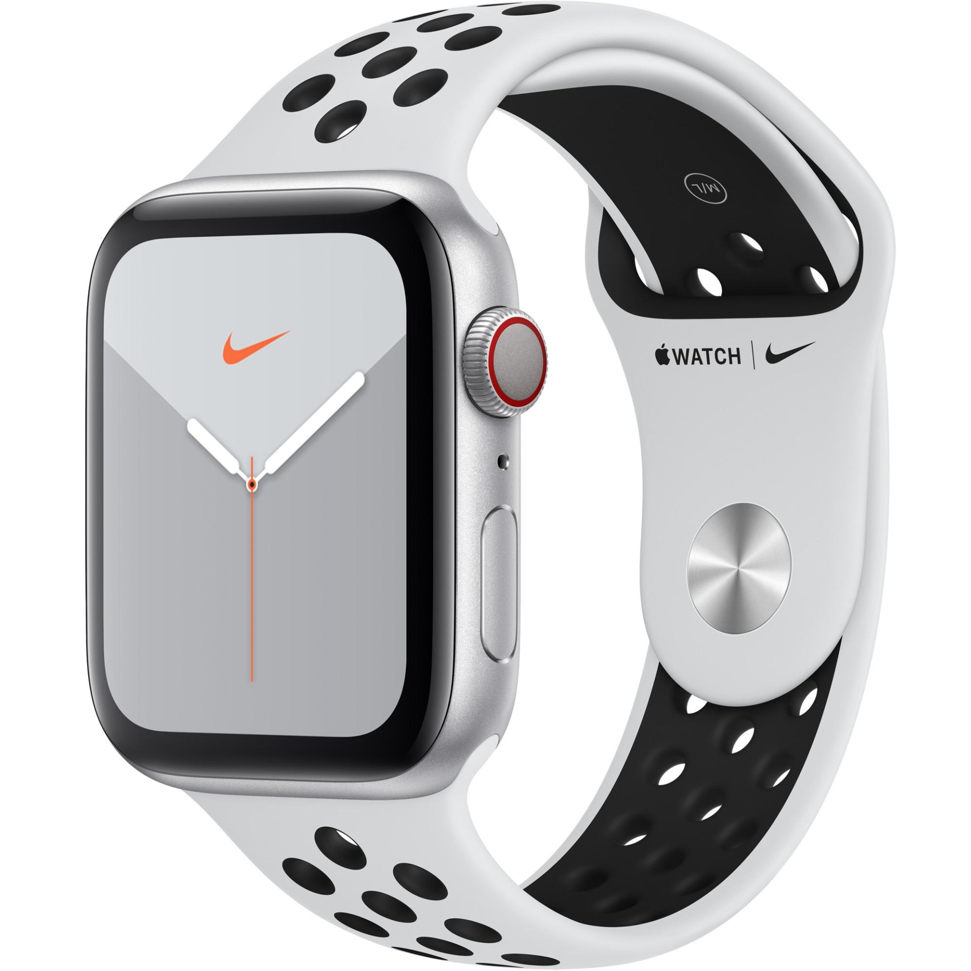 Fotografie Apple Watch Nike 5, GPS, Cellular, Carcasa Silver Aluminium 44mm, Pure Platinum/Black Nike Sport Band - S/M & M/L